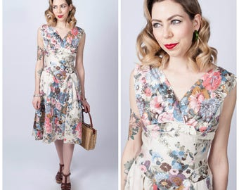 Vintage 1950's Alix of Miami Floral Print Cotton Dress/ 50's Flower Printed Summer Fit and Flare Day Dress Size Medium