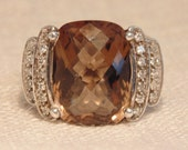 Vintage Smokey Quartz CZ Sterling Ring Vintage Ring Sterling Jewelry Statement Ring Womens Ring Faceted Stone Ring
