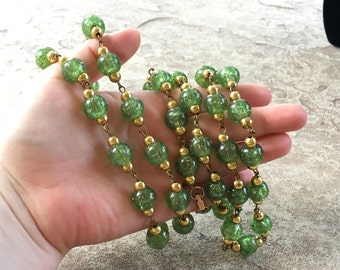 Green Beaded Necklace, Green and Gold Long Necklace Beaded, Vintage Necklace, Green Glitter Necklace, Necklace For Her, Chunky Necklace