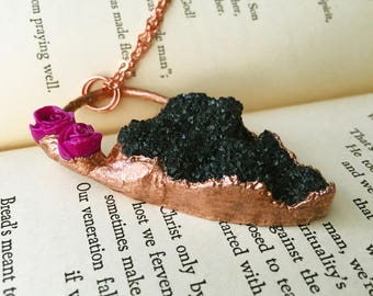 Black Druzy Necklace, Black and Copper Necklace, Purple Rose Necklace, Copper Plate Electroformed Jewelry Statement Necklace Chunky Necklace