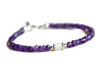 Genuine amethyst bracelet, sterling silver bracelet, amethyst jewelry, February birthstone