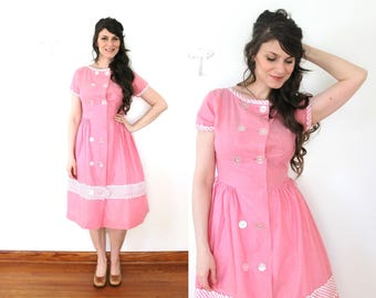 1950s Dress / 50s 1940s Pink Chambray Striped County Fair Dress