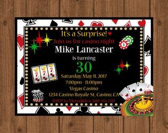 Casino Night Party Invitation, Casino 30th Birthday, Blackjack, Casino Night, Poker Night, Las Vegas, Printable 30th Casino Invitation