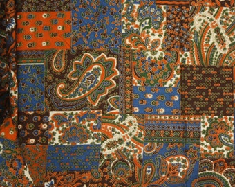 """3 yards x 42"""" Vintage Cotton  Fabric Blue, Orange, Brown and Gold Boho Faux Patchwork"""