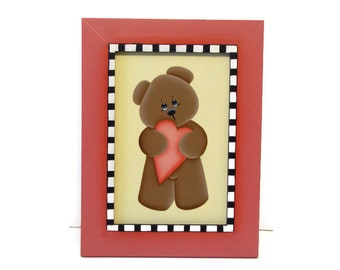 Sweet Bear with Heart, Framed, Handpainted Wood Home Decor, Hand Painted Valentine's Day Wall Art or Shelf Sitter, Tole Painting, B6