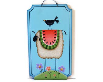 Prim Sheep, Watermelon, Crow,  Handpainted Wood Sign,  Hand Painted Primitive Home Decor, Wall Art, Tole Decorative Painting, B6