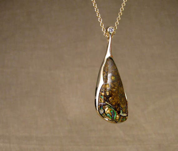 One-of-a-kind Boulder Opal + Diamond Pendant - 14K