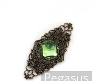 Absinthe Green Eye of Storm Encased Gem Pendant (1 Piece, 12 color option)(FP08) for circlets,bracers,costume armor,fantasy larp cosplay