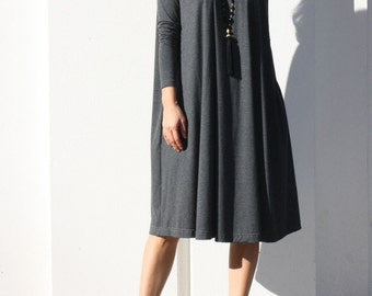 Turtle Neck Swing Dress with Long Sleeve, Winter Dress, T-Shirt Dress, Loose Dress, Tunic Dress, Flare Dress, Pocket Dress