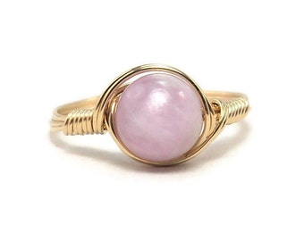 LG Purple Kunzite 14k Yellow Gold Filled Ring Wire Wrapped Ring