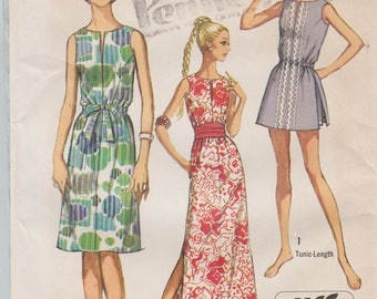 Simplicity 9359 / Vintage 70s Sewing Pattern / Dress Tunic Shorts / Size 14 Bust 36