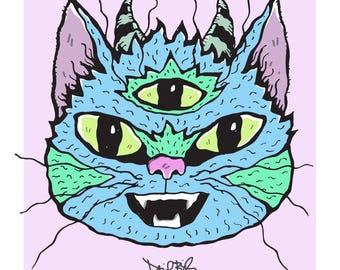 Three-Eyed, Horned Wiggly Kitties Cat Art Print
