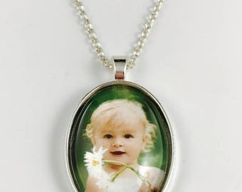 Custom Photo Necklace - Custom Photo Key Chain - Oval Pendant - Your Personal Photo - 4 Finishes Available