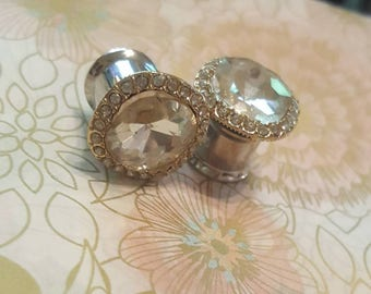 Rhinestone Plugs Guages Wedding Prom 0g 8mm, 00g 10mm, 7/16ths 11.2mm P3