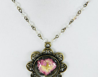 Necklace Brass Cameo Pendant with Pressed Pink Wild Flower and Crystal Beads Reserved for Customer