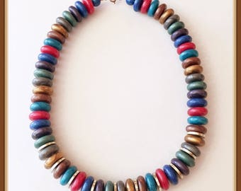 Multi Color Casual Necklace, Disk Beads, Marbleized, 19 inches, Vintage 1980's