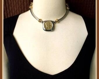 Les Bernard Choker, Necklace Napoleon Empereur Coin Pendant, Siver and Gold Tone, Vintage 1980's