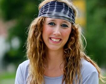 Scarves for Hair, Black Tie Dye Head Wrap, Sport Headscarf, Sweat Headwrap, Gray Tie Dye Headband (#1022) S M L X