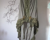 Woodland far, organic raw silk cotton skirt