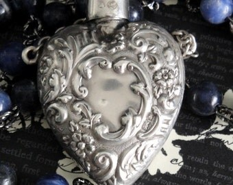 CHATELAINE Antique Heart Perfume Bottle Necklace. Repousse Sterling Silver. Sodalite Bead Rosary Chain. Birmingham. Renaissance Assemblage