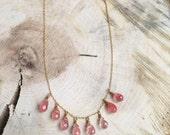 Rose Quartz Teardrop Necklace. 14/20 Gold Filled Chain.