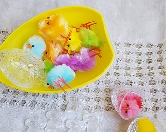 DIY Easter Diorama Set, Chenille Chickens, Giant Plastic Egg, Easter Decor Supply, Spring Chickens