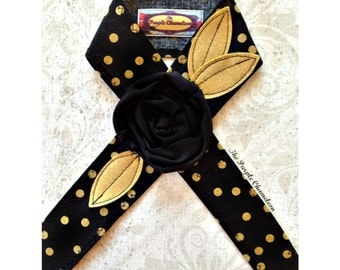 READY TO SHIP Black and gold Polka Dot Headwrap Head Wrap Flower Headband Tichel Sash Headcover Tie Headband  Knotted Headband Gifts for Her