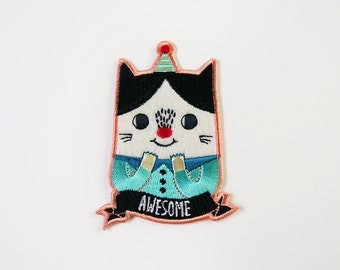 Awesome Cat Iron On Patch - Cat Embroidered Patch - Cute Embroidered Applique - Wearable Art