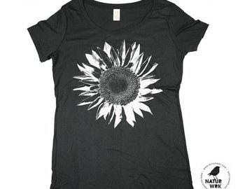 Women T-Shirt -  Ladies Flower Tee -  Bamboo - White Sunflower - Organic Cotton - In Small, Medium, Large and XL - Clothing