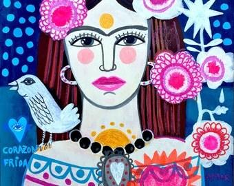 Beautiful Frida. Original painting on cardboard. Original art, folk art, flowers, wall decor.
