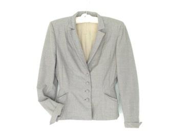 Vintage 40s Blazer * 1940s Jacket * Gray Peplum Jacket * Small - Medium