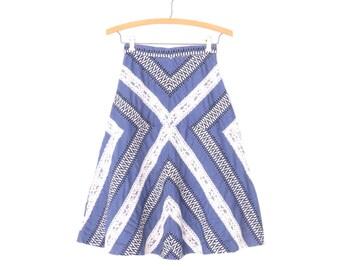 70s Chevron Skirt * A-line Skirt * Vintage 1970s Chambray Skirt * XXS