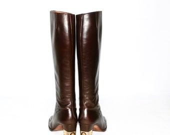 GIVENCHY Vintage Boots Brown Leather Gold Logo Heel 6.5 - AUTHENTIC -