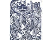 The Ardudwy Sea  - Original linoprint