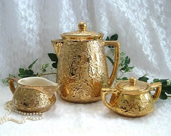 Tea Decor McCoy Vintage Tea Set Gold Teapot Set 24K Gold Tea Pot Set Porcelain Tea Set Ceramic Tea Set Tea Time Wedding Gift Elegant Dining