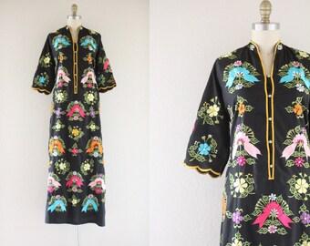 S A L E 1960's embroidered maxi dress