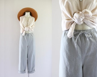 sage gray linen trousers / m