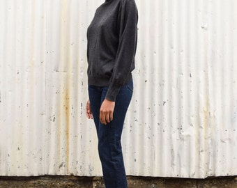 Vintage Turtleneck 1990's ESPRIT Minimalist Charcoal Gray Lambswool Cashmere Knit Pullover Sweater M