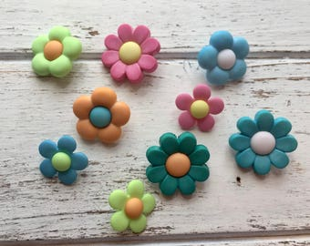 """Flower Buttons, Packaged Novelty Buttons """"Petal Power"""" #4447 by Buttons Galore, Assorted Colors, Shank Back Button, Embellishments"""