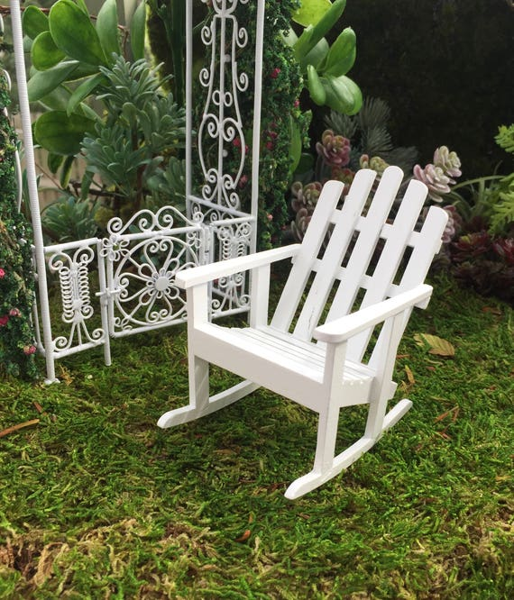 SALE Miniature Adirondack Rocking Chair, White Wood Rocker, Dollhouse Miniature Furniture, 1:12 Scale, Miniature Garden Decor