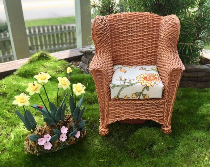 Featured listing image: Miniature Wicker Look Garden Chair With Removable Cushion by Reutter, Dollhouse Miniature, Fairy Garden Accessory, Topper