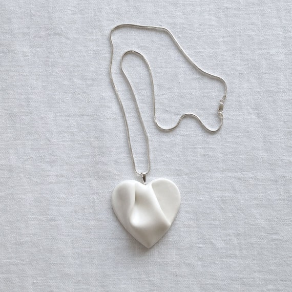 Sculpted HEART white porcelain necklace sterling silver snake chain, ceramic jewellery, satin white ceramic glaze, gift box