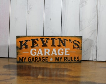 Garage Sign/Personalized/Black/Orange/ White/Colors/Personalized/Name/Shelf Sitter/Gift/Male gift/Christmas Gift/U Choose Colors