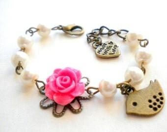 Toddler Bracelet Gift For Newborn New Baby Gift Rose and Pearl Bracelet Flower Girl Gift Pink Bracelet Baby Shower Gift Girl Bird Bracelet
