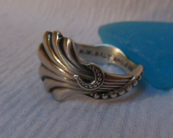 Antique Spoon Ring  Sterling Silver  Size 8.75