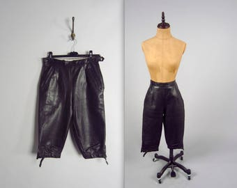 1940s riding pants • high waisted jodhpurs • black leather motorcycle pants • flight pants