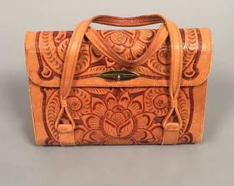 1960s tooled leather purse • vintage 60s large floral bag • leather satchel hand bag