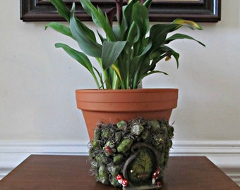 Fairy Garden Planter - Terra Cotta Pot with Fairy Door, Spanish Moss and Stones - Whimsical Indoor Plant Holder and Home Decor