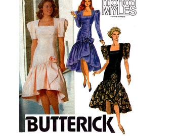 Butterick 5213 Morton Myles 1990 Drop Waist Hi Lo Hem Prom Formal Bridesmaids Dress Petticoat Vintage Sewing Pattern Size 14 16 18
