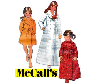 McCall's 3034 Girls Toddlers Robe & Slippers Maxi Wrap Dressing Gown 70s Vintage Sewing Pattern Size 4 Breast 23 inches UNCUT Factory Folds